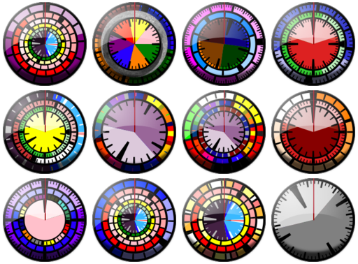 montage of all the different clock faces